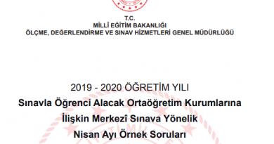 MEB 2020 Nisan Ayı Örnek Soruları